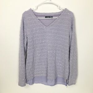 Apt. 9 purple textured long sleeve v-neck sweater